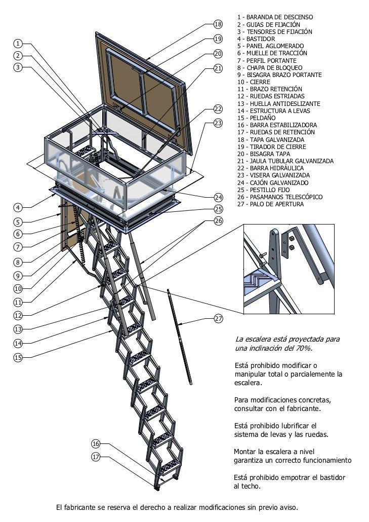 Escaleras escamoteables maderas casais materiales de for Escalera escamoteable