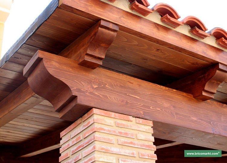 Vigas porches maderas casais materiales de carpinter a - Vigas falsas de madera ...